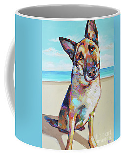 German Shepard On The Beach Coffee Mug