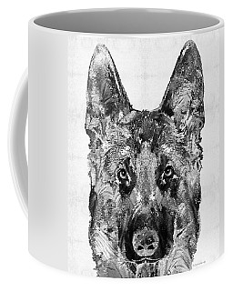 German Shepherd Black And White By Sharon Cummings Coffee Mug