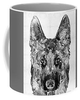 Coffee Mug featuring the painting German Shepherd Black And White By Sharon Cummings by Sharon Cummings