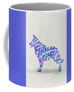 Coffee Mug featuring the painting German Shepherd Dog Watercolor Painting / Typographic Art by Ayse and Deniz