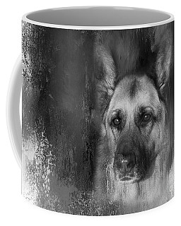 German Shepherd In Black And White Coffee Mug