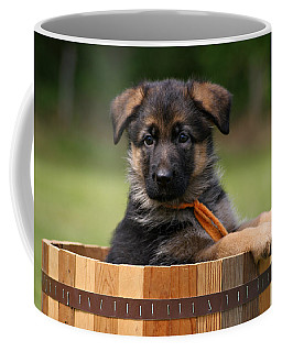 German Shepherd Puppy In Planter Coffee Mug