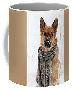 German Shepherd Wearing Scarf In Snow Coffee Mug