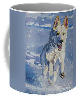 German Shepherd White In Snow Coffee Mug