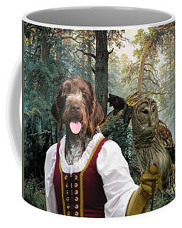 German Wirehaired Pointer Art Canvas Print - Lady Owl And Little Bears Coffee Mug