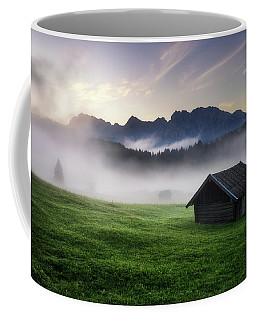 Geroldsee Forest With Beautiful Foggy Sunrise Over Mountain Peaks, Bavarian Alps, Bavaria, Germany. Coffee Mug