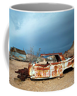 Coffee Mug featuring the photograph Ghost Town Old Car by Catherine Lau