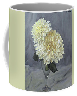 Giant White Dahlias In Wine Glass Coffee Mug