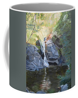 Coffee Mug featuring the painting Gibbs Falls by Linda Feinberg