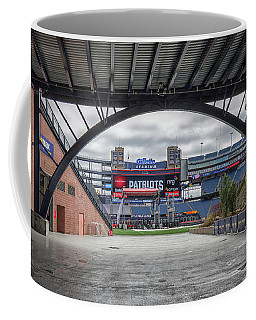 Gillette Stadium And The Four Super Bowl Banners Coffee Mug
