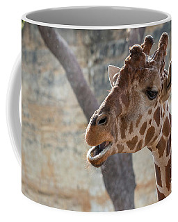 Coffee Mug featuring the photograph Girafe Head About To Grab Food by PorqueNo Studios
