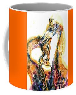 Coffee Mug featuring the painting Giraffe Family by Zaira Dzhaubaeva