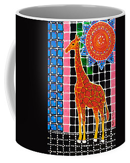 Coffee Mug featuring the painting Giraffe In The Bathroom - Art By Dora Hathazi Mendes by Dora Hathazi Mendes