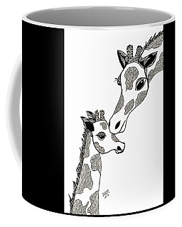 Coffee Mug featuring the drawing Giraffe Mom And Baby by Barbara McConoughey