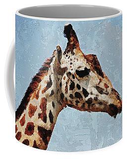 Coffee Mug featuring the digital art Giraffe Safari  by PixBreak Art