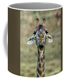 Giraffe Smiling For The Camera Coffee Mug by Myrna Bradshaw