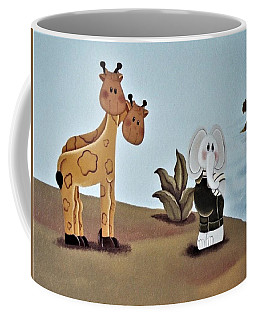 Giraffes, Elephants And Palm Trees Coffee Mug