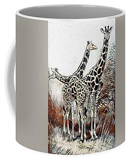 Coffee Mug featuring the digital art Giraffes by Pennie McCracken