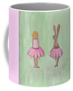Girl And Bunny In Pink Tutus Coffee Mug