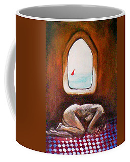 Coffee Mug featuring the painting Girl At The Beach by Winsome Gunning