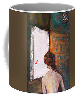 Coffee Mug featuring the painting Girl At The Window by Winsome Gunning