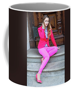 Girl Dressing In Pink Coffee Mug