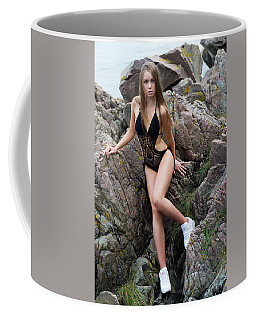 Girl In Black Swimsuit Coffee Mug