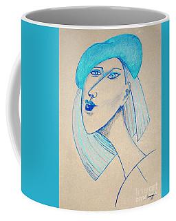 Girl In Blue Beret Coffee Mug