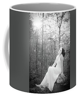 Coffee Mug featuring the photograph Girl In The Sunlight In The Forest by Kelly Hazel