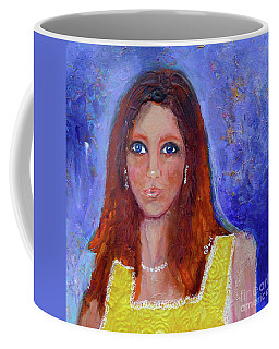 Coffee Mug featuring the painting Girl In Yellow Dress by Claire Bull