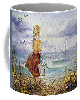 Coffee Mug featuring the painting Girl Ocean Shore Birds And Seashell by Irina Sztukowski