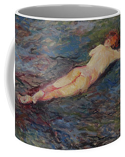 Girl On Volcanic Beach, Spain Coffee Mug