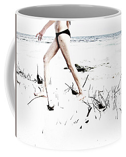 Girl Walking On Beach Coffee Mug