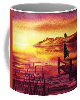 Coffee Mug featuring the painting Girl Watching Sunset At The Lake by Irina Sztukowski