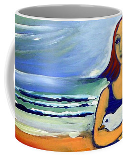 Coffee Mug featuring the painting Girl With Bird by Winsome Gunning