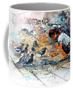 Coffee Mug featuring the painting Girl With Birds by Kovacs Anna Brigitta