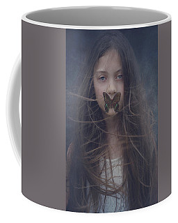 Girl With Butterfly Over Lips Coffee Mug