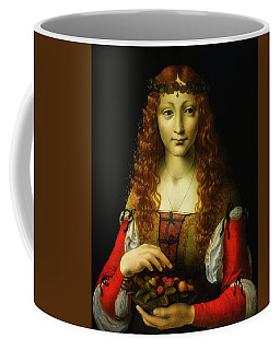 Coffee Mug featuring the painting Girl With Cherries by Giovanni De Predis