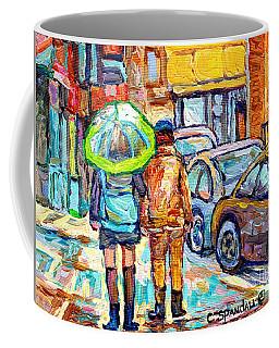 Girl With Green Umbrella Rainy Day Rue Wellington Walking Verdun Streets Canadian Art C Spandau  Coffee Mug