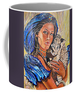 Girl With Lion Cub Coffee Mug