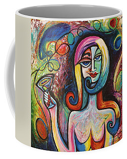 Girl With Martini Cocktail Abstract Coffee Mug by Genevieve Esson