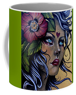 Girl With Poppy Flower Coffee Mug