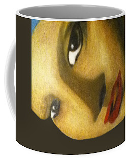 Coffee Mug featuring the painting Girl With The Pearl Earring Close Up by Jayvon Thomas