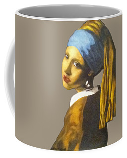 Coffee Mug featuring the painting Girl With The Pearl Earring No Background by Jayvon Thomas