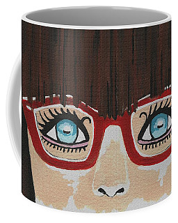 Coffee Mug featuring the painting Girl With The Red Glasses by Kathleen Sartoris