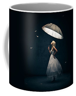 Girl With Umbrella And Falling Feathers Coffee Mug