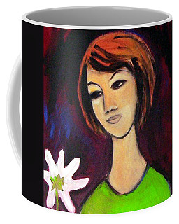 Coffee Mug featuring the painting Girl With White Flower by Winsome Gunning