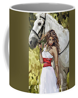 Girl With White Horse Coffee Mug
