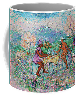 Coffee Mug featuring the painting Girlfriends' Teatime Iv by Xueling Zou
