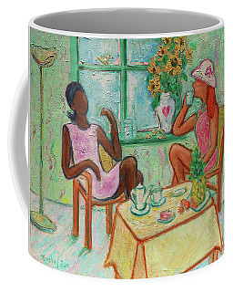 Coffee Mug featuring the painting Girlfriends' Teatime V by Xueling Zou